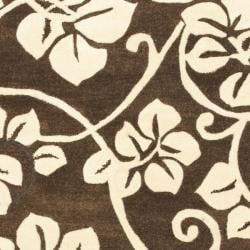 "Safavieh Handmade Soho Brown/Ivory Floral New Zealand Wool Area Rug (7'6"" x 9'6"") - Thumbnail 2"