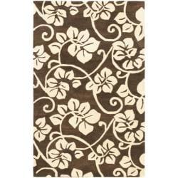 Safavieh Handmade Soho Brown/Ivory Floral New Zealand Wool Area Rug - 7'6 x 9'6 - Thumbnail 0