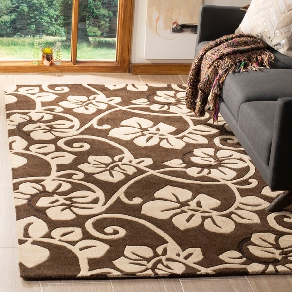 "Safavieh Handmade Soho Brown/Ivory Floral New Zealand Wool Area Rug - 7'6"" x 9'6"""
