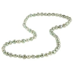 DaVonna Light Green Baroque FW Pearl 28-inch Endless Necklace (9-10 mm)