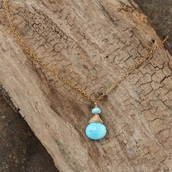 Turquoise 14k Goldfill Drop Necklace