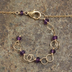 Rafia 14k Goldfill Amethyst Necklace - Thumbnail 1