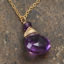 Rafia 14k Goldfill Amethyst Necklace - Thumbnail 2