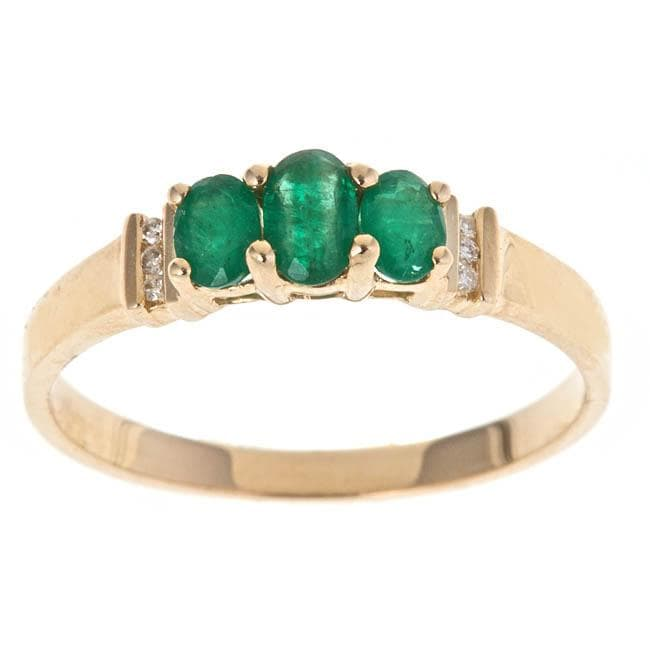 D'Yach 14k Yellow Gold Emerald and Diamond Accent Fashion Ring (Size 7 Only)