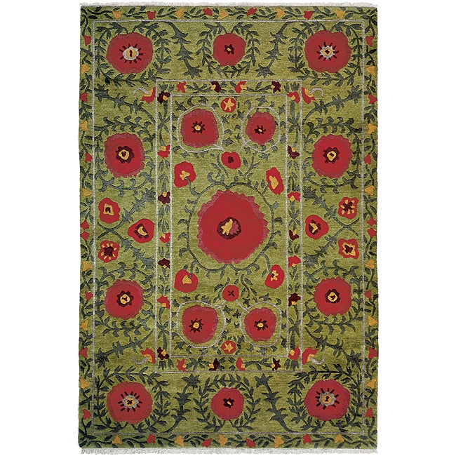 Nepalese Hand-knotted Green Poppies Wool Rug (3' x 5')