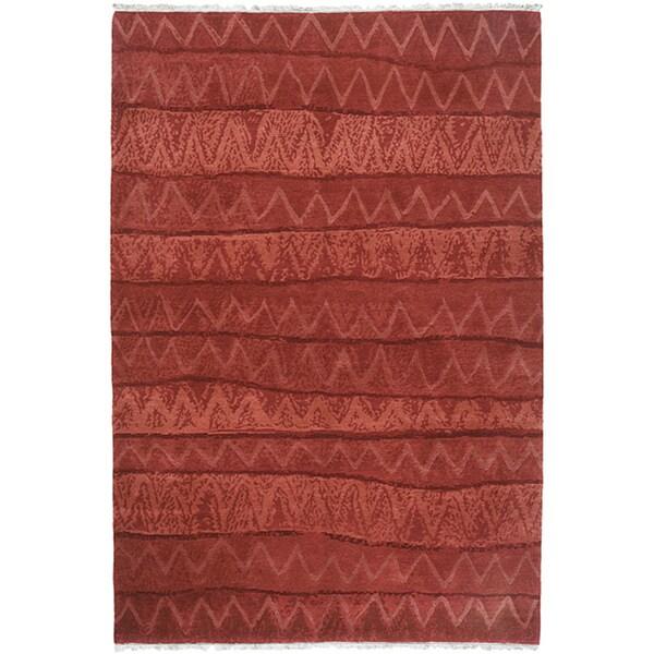 Shop Handmade Nepalese Red Ric Rac Wool Rug (Nepal)