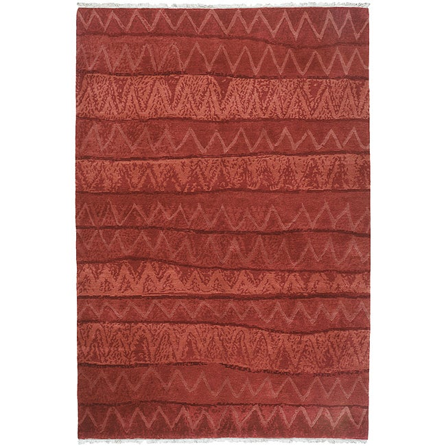 Nepalese Hand-knotted Red Ric Rac Wool Rug (6' x 9')