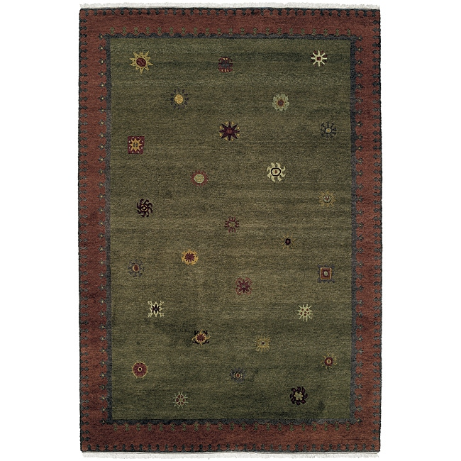 Nepalese Hand-knotted Green Sol Moss Wool Rug (2' x 3')