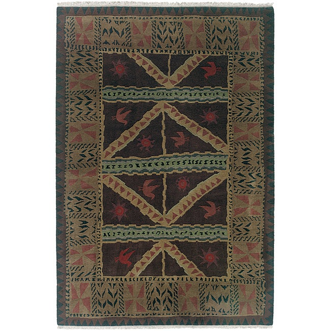 Nepalese Hand-knotted Chocolate Sundial Wool Rug (6' x 9')