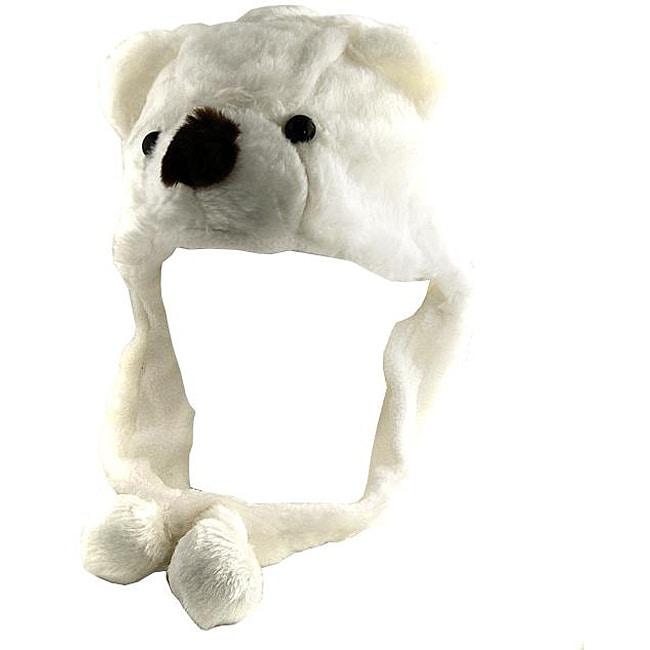 H2W Kid's White Teddy Bear Earflap Hat