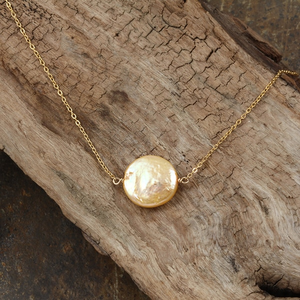 Goldfill Yellow Coin Pearl Necklace (14k, 12 mm)