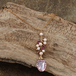 Goldfill 14-k Keshi Pearls and Rhodolite Garnet Necklace (3 mm)