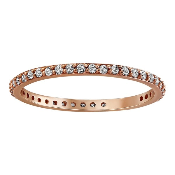 14k Rose Gold 1/3ct TDW Diamond Eternity Wedding Band by Beverly Hills Charm. Opens flyout.