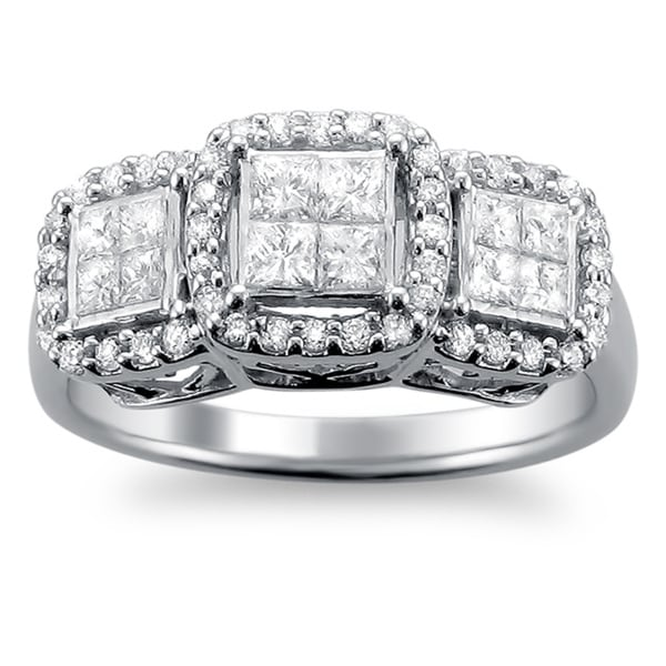 Montebello 14k White Gold 1ct TDW Princess Diamond Engagement Ring (H-I, I1-I2)