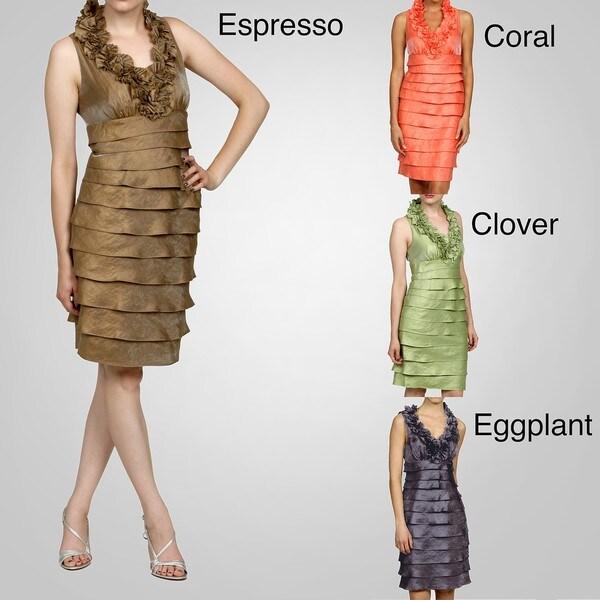 London Times Women's Ruffed Shutter Pleat Sleeveless Dress