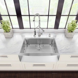 VIGO All-in-One 33-inch Stainless Steel Farmhouse Kitchen Sink and Zurich Stainless Steel Faucet Set