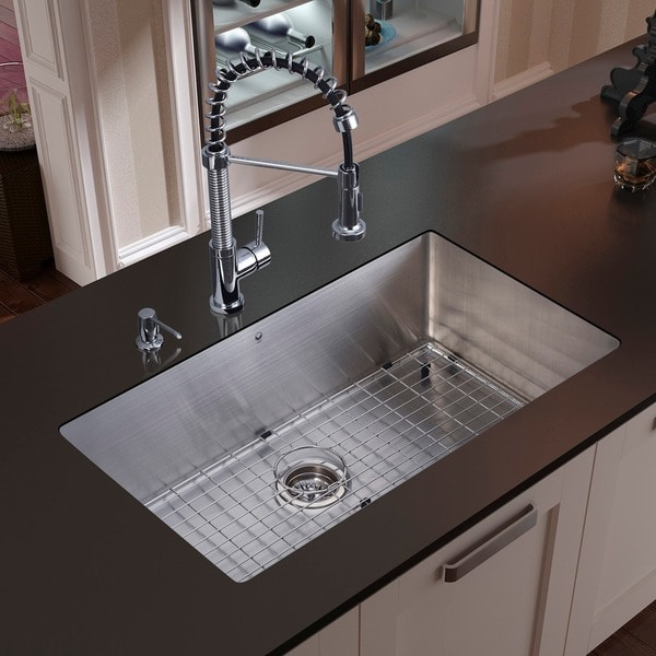 """VIGO All-In-One 30"""" Mercer Stainless Steel Undermount Kitchen Sink Set With Edison Faucet In Chrome"""