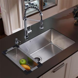 VIGO All-in-One 30-inch Stainless Steel Undermount Kitchen Sink and Edison Chrome Faucet Set