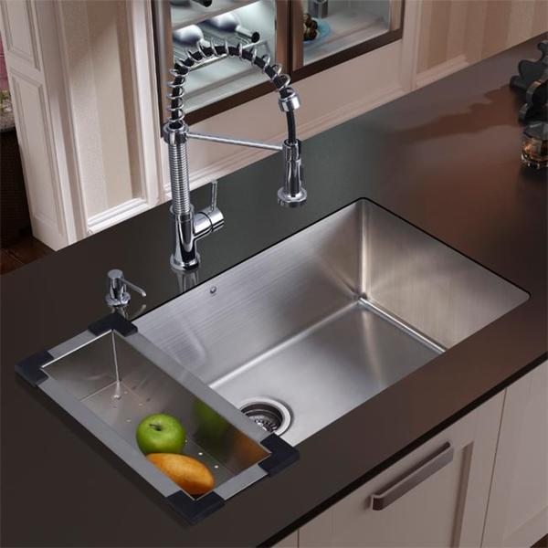 vigo all in one 30 inch stainless steel undermount kitchen sink and edison - Kitchen Sink And Faucet Sets