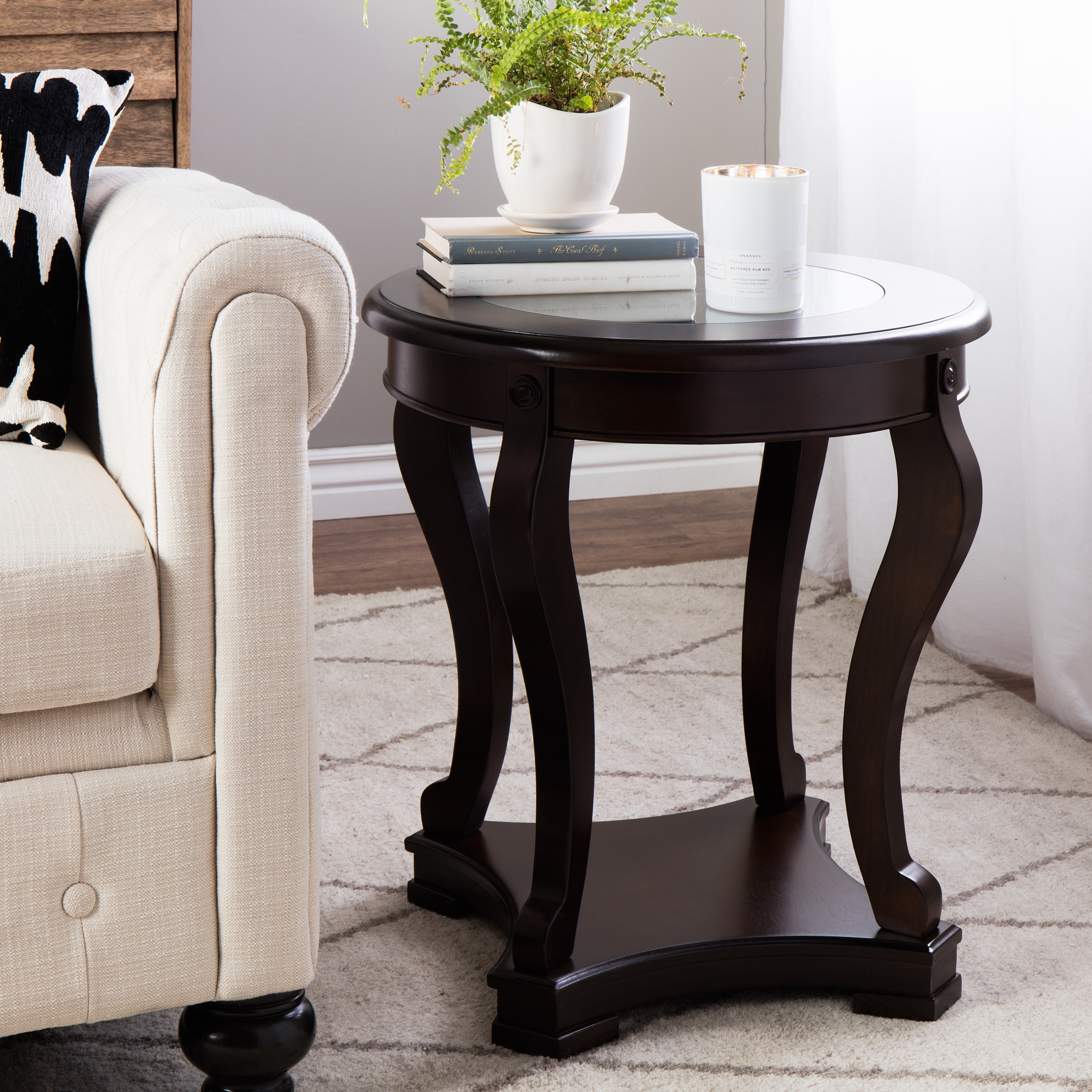 Mesitas De Sala Curved Entryway Espresso End Table Small Glass Top Side  Table