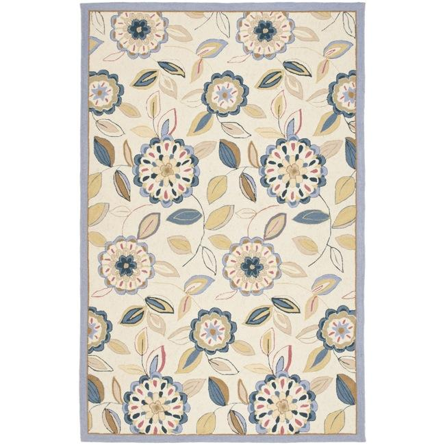 Safavieh Hand Hooked Floral Garden Ivory Blue Wool Rug 3