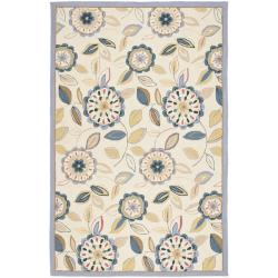 Safavieh Hand-hooked Floral Garden Ivory/ Blue Wool Rug (3'9 x 5'9)