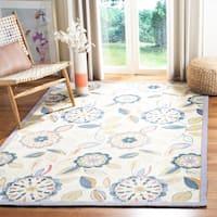 "Safavieh Hand-hooked Floral Garden Ivory/ Blue Wool Rug - 5'3"" x 8'3"""