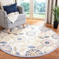 """Safavieh Hand-hooked Floral Garden Ivory/ Blue Wool Rug - 5'6"""" x 5'6"""" round"""