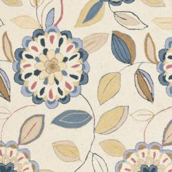 Safavieh Hand-hooked Floral Garden Ivory/ Blue Wool Rug (7'9 x 9'9) - Thumbnail 2