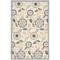 Safavieh Hand-hooked Floral Garden Ivory/ Blue Wool Rug - 7'9 x 9'9 - Thumbnail 0