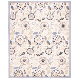 "Safavieh Hand-hooked Floral Garden Ivory/ Blue Wool Rug - 7'-9"" x 9'-9"""