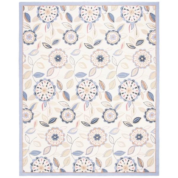 "Safavieh Hand-hooked Floral Garden Ivory/ Blue Wool Rug - 7'9"" x 9'9"""