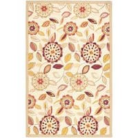 Safavieh Hand-hooked Floral Garden Ivory/ Pink Wool Rug - 3'9 x 5'9