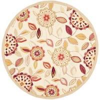 Safavieh Hand-hooked Chelsea Floral Garden Ivory/ Pink Wool Rug - 4' x 4' Round