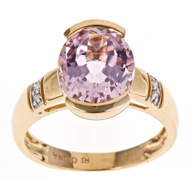 Anika and August 14k Yellow Gold Kunzite and Diamond Fashion Ring