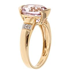 Anika and August 14k Yellow Gold Kunzite and Diamond Fashion Ring - Thumbnail 1