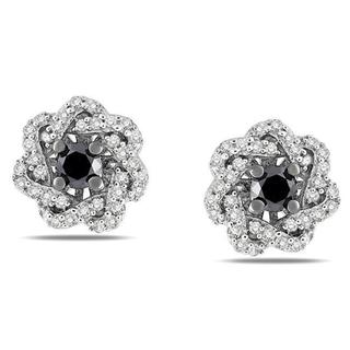 Sterling Silver 1/2ct TDW Black and White Diamond Earrings