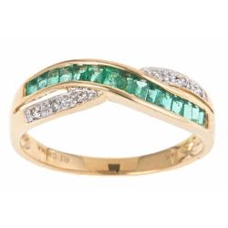 Anika and August 14k Yellow Gold Emerald and Diamond Accent Fashion Ring