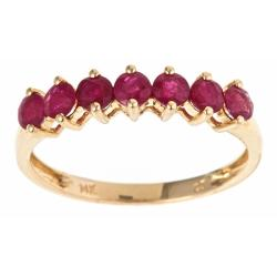 Anika and August 14k Yellow Gold Round-cut Ruby Fashion Ring