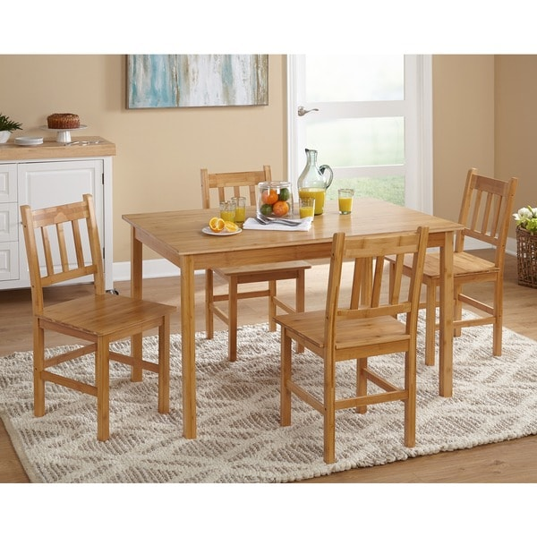 Simple Living Bamboo 5 Piece Dining Set   Free Shipping Today    Overstock.com   13494705