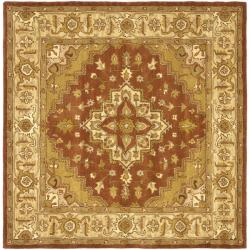 Safavieh Handmade Heritage Timeless Traditional Rust/ Gold Wool Rug (6' Square)
