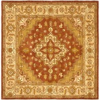 Safavieh Handmade Heritage Timeless Traditional Rust/ Gold Wool Rug - 6' x 6' Square