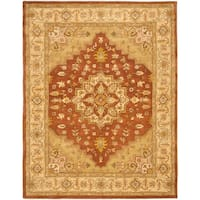 "Safavieh Handmade Heritage Timeless Traditional Rust/ Gold Wool Rug - 7'6"" x 9'6"""