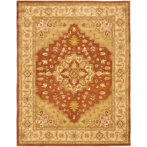 Safavieh Handmade Heritage Timeless Traditional Rust/ Gold Wool Rug (7'6 x 9'6)