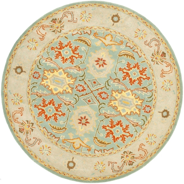 Safavieh Handmade Heritage Timeless Traditional Light Blue/ Ivory Wool Rug (6' Round)