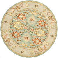 Safavieh Handmade Heritage Timeless Traditional Light Blue/ Ivory Wool Rug - 6' x 6' Round