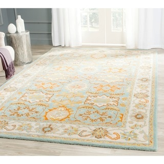 Safavieh Handmade Heritage Timeless Traditional Light Blue/ Ivory Wool Rug (6' Square)