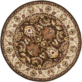 Safavieh Handmade Heritage Timeless Traditional Brown/ Beige Wool Rug (6' Round)