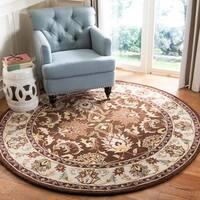 Safavieh Handmade Heritage Timeless Traditional Brown/ Beige Wool Rug - 6' x 6' Round