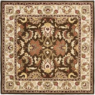 Safavieh Handmade Heritage Timeless Traditional Brown/ Beige Wool Rug (6' x 6')